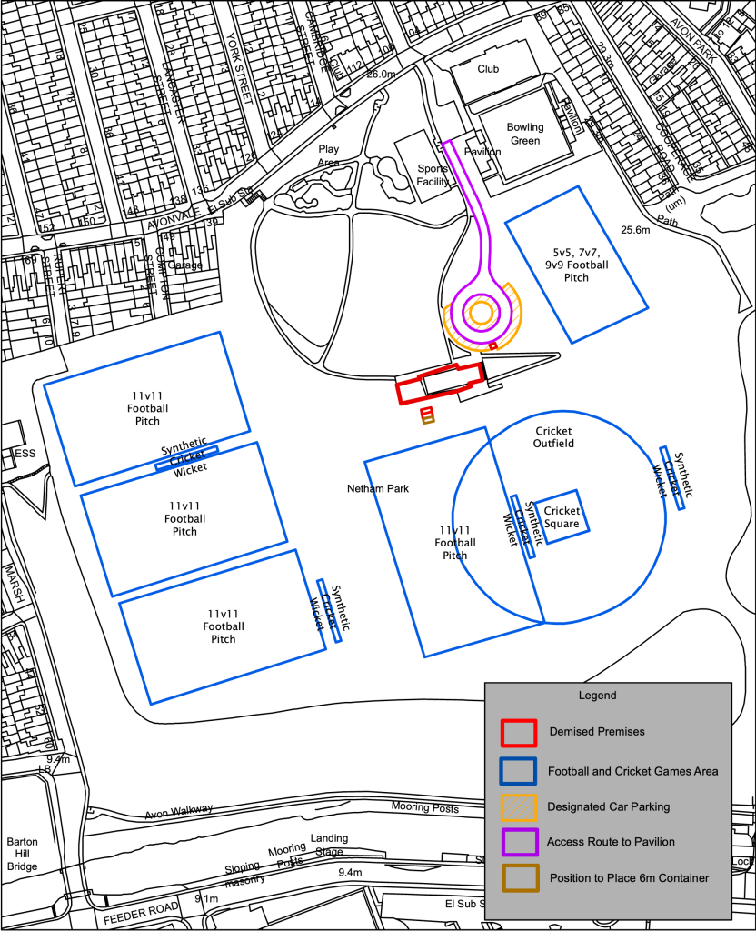 A site plan detailing the areas within Netham Park that are part of the Sports Facility Transfer. Highlighted areas are 4 football pitches of differing sizes, a cricket pitch with an overlapping football pitch and the pavillion building in the centre of the park. Outside of the highlighted areas are large areas of open grass, the bowling green, the wildlife areas, an area with walkways and a play area for children.